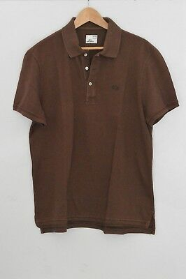 Polo Vintage washed LACOSTE tg 6 uomo colore marrone T-shirt cotone XL