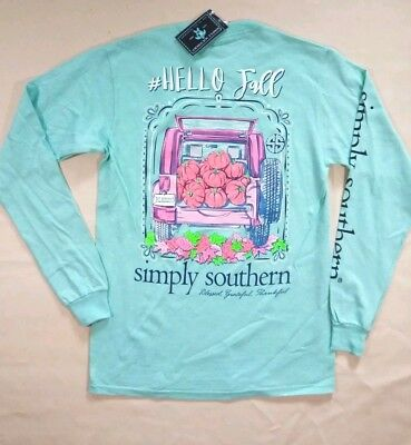 "NWT Simply Southern "" Hello Fall"" Women's Sz.  Small Long Sleeve T-Shirt"