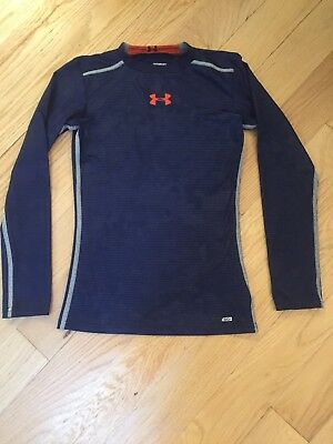 Under Armour Cold Gear Fitted Shirt Youth Boys M Pullover Long Sleeve Blue
