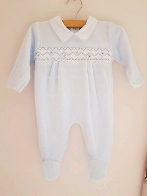 Blue Smocked Velour Baby Grow