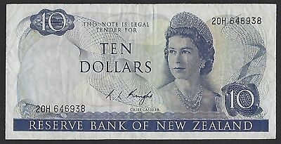 New Zealand ND(1967-77) P-166d VF+ 10 Dollars