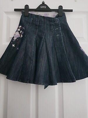 Next Girls Demin, Embroidered Skirt Age 5 years VGC pretty