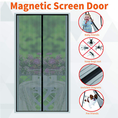 Magnetic Screen Door 26 Strong Magnets-Full Frame Magic Adhesive-Easy Open Close