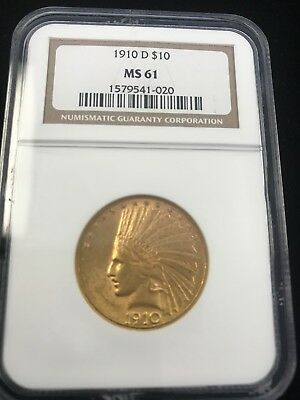 1910-D Indian Head Eagle $10 Gold Pcgs Ms61