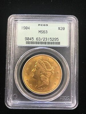 1904 $20 Liberty PCGS MS63 choice graded Gold Double Eagle Philadelphia minted