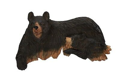 Black Bear With A Cub Wall Art Hand Wood Carving Cabin Rustic Decor