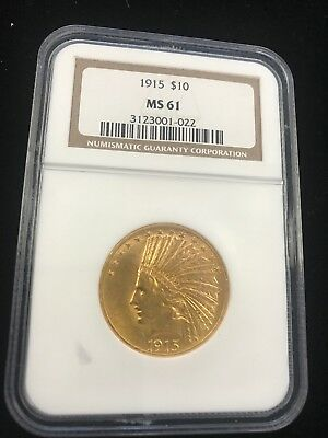 1915 gold Indian $10 Eagle MS61  bright and shiny GOLD!