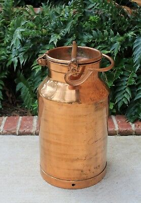 Antique French Country Heavy COPPER Farmhouse Farm Milk Can Jug with Lid Handle
