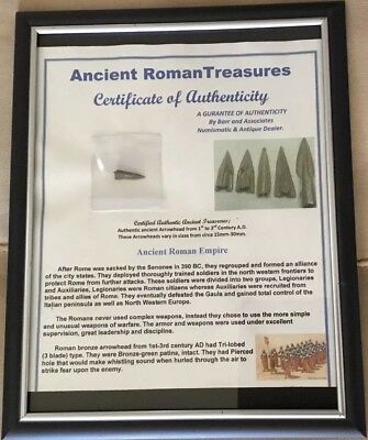 PROFESSIONALLY FRAMED ANCIENT ROMAN EMPIRE 1st to 3rd CENTURY A.D. ARROWHEAD