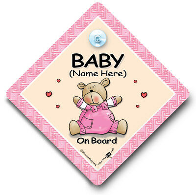 Baby Pink Bear On Board, PERSONALISED Baby On Board Sign, Baby Car Window Sign