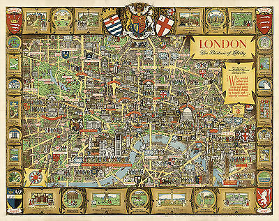 Pictorial Historical Map London The Bastion of Liberty Wall Art Vintage Poster