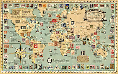 Pictorial Philatelic Institute's Stamp Map of the world Vintage Wall Art Poster
