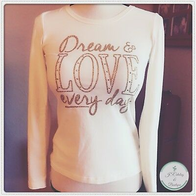 Girls Ivory With Gold Glitter Design Faded Glory Size L 10/12 Long Sleeved Tee