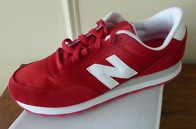 New Balance 501 running shoes sneakers, Leather, Red and White, Mens 12