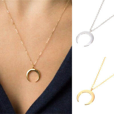 Fashion Gold/Silver Plated Moon Pendant Necklace Women Charm Jewelry Accessory