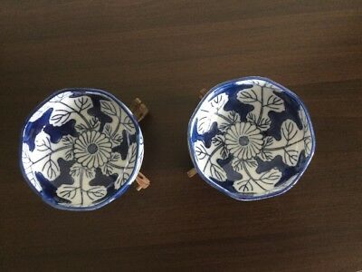 A Pair Of Vintage Blue & White Japan OMC Octagonal Bowls
