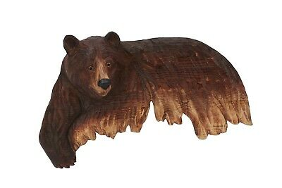 Brown Bear Wall Art Cabin Rustic Decor Hand Wood Carving