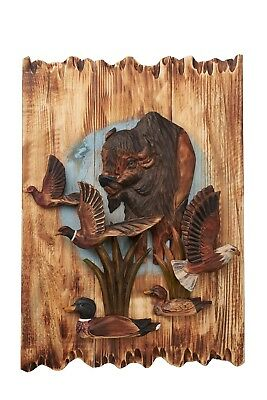 Wildlife Buffalo With Eagle, Ducks, And Pheasant 3D Wall Art Cabin Rustic Decor
