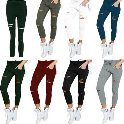 Women's High Waist Stretch Slim Pencil Trousers Skinny Ripped Holes Jeans Pants