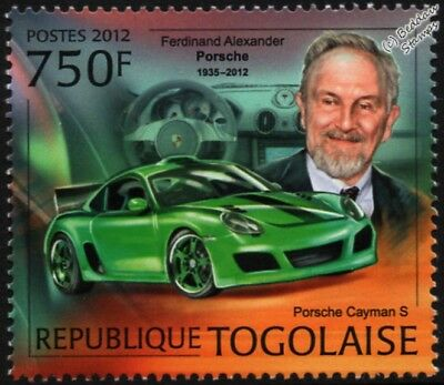 Ferdinand PORSCHE & CAYMAN S Coupe Sports Car Mint Automobile Stamp (2012 Togo)