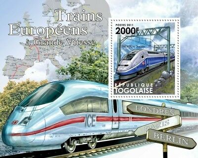 High Speed Trains of Europe (SNCF TGV Duplex / ICE) Stamp Sheet (2011 Togo)