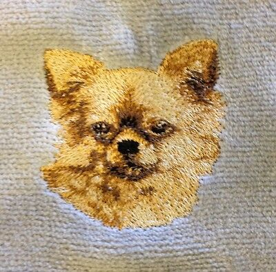Chihuahua Long Coat, Hand Towel, Embroidered, Custom, Personalized, Dog