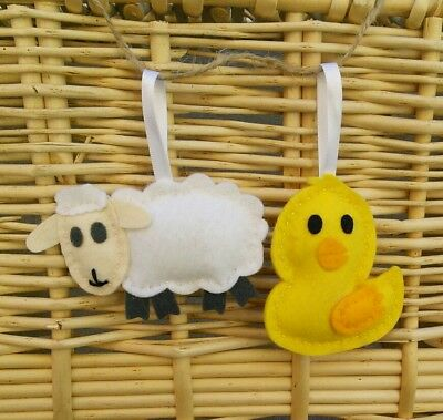 Handmade felt animal duck and lamb hanging decoration for nursery or gift