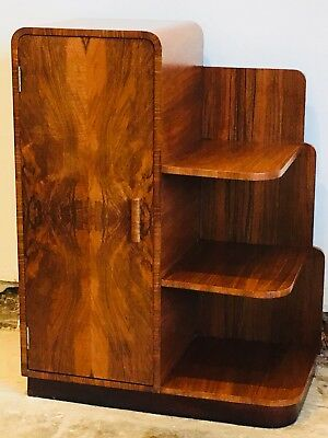 Art Deco 1930s Modernist Burr Walnut Skyscraper Bookcase / Cabinet Original!!