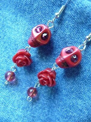 Red Roses and Skulls Drop Crystal Eye Earrings La Catrina Day-of-the-Dead Dangle