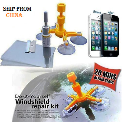 Car iPhone Windshield Repair Kit DIY Window Tool screen Glass Scratch LCD crack