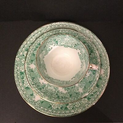 Early 20th Century Allerton Ceramic Cup Plate & Saucer. Green 'Como' Pattern