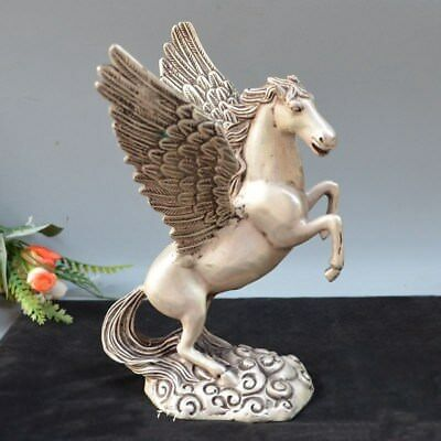 mythology Pegasus Rise up Fly Wings Fine Horse Brass success Statue