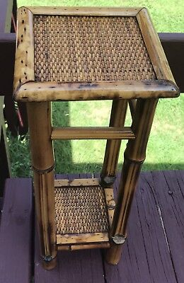 Antique Victorian English Bamboo Side Table Two Teir Striaght Legs Plant Stand