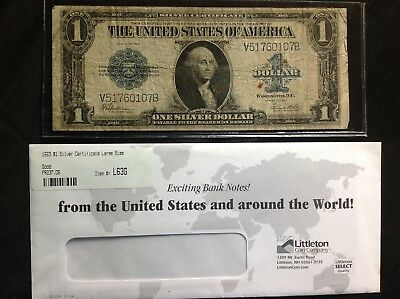 1923 $1 SILVER CERTIFICATE LARGE SIZE BANKNOTE FR-237.05 Littleton Coin GOOD