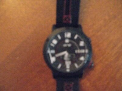 wrist watch ENE japan movement black red parts non working as is
