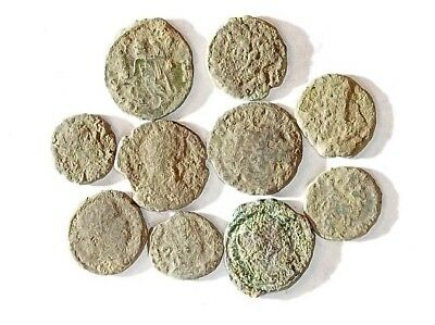10 ANCIENT ROMAN COINS AE3 - Uncleaned and As Found! - Unique Lot X25903