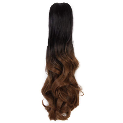 (50cm)  Two Tone Long Big Wavy Claw Curly Ponytail Clip in Hair Extensions HOT