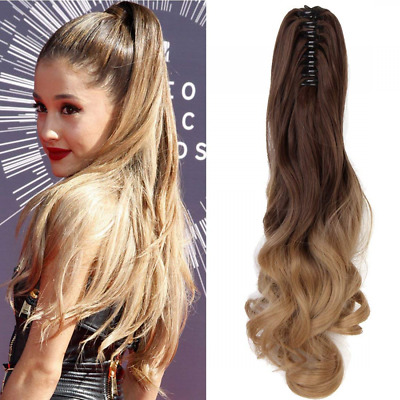 (50cm) Ombre Two Tone Long Big Wavy Claw Curly Ponytail Clip in Hair Extensions