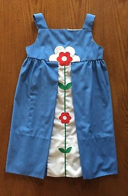 VTG Florence Eiseman Designer Girl's Blue Retro Mod Jumper Dress Red Flower SZ 8