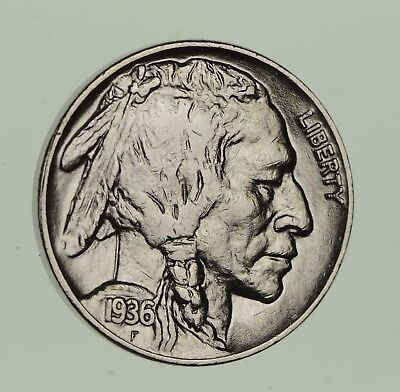 FULL HORN - High Grade - TOUGH - 1936 Buffalo Nickel - Sharp Coin! *704