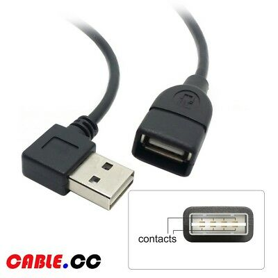 Cablecc 1m USB 2.0 Male to Female Extension Cable Reversible Left & Right Type