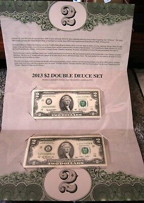 2013 $2  DOUBLE DUECE CURRENCY 5000 LIMITED SETS SOLD OUT AT BEP LOW SERIAL #'s
