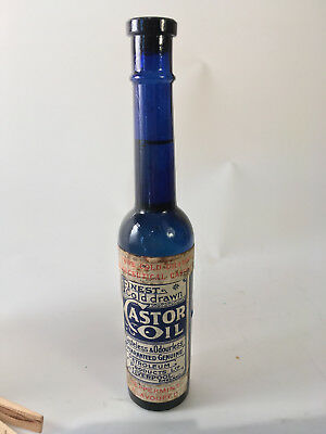 "RARE -- UNOPENED --  Cobalt Blue castor oil -- ""FINEST COD DRAWN CASTOR OIL"""