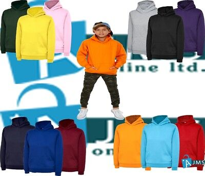 Children's Kids Hooded Sweatshirt Jumper Plain Pullover Sweater Hoodie