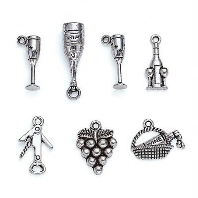 Kissitty 5 Sets Mixed Style Antique Silver Tasting Wine Grape Cocktail Glass ...
