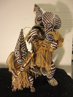 African lot of two Ceremonial Zimbabwe Makishi Dolls Figurines.Large Doll  24in!