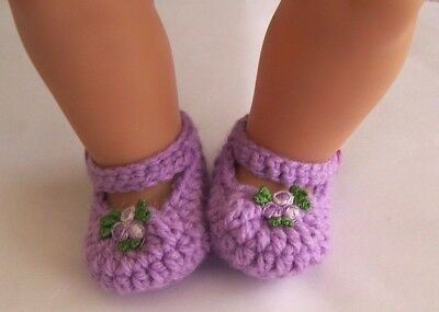 Mauve flower Mary Jane booties/shoes/slippers: Dolls Clothes for Baby Born
