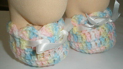 """Dolls Clothes 4 Cabbage Patch Kid 16"""" doll: Multi colour booties/shoe ribbon tie"""