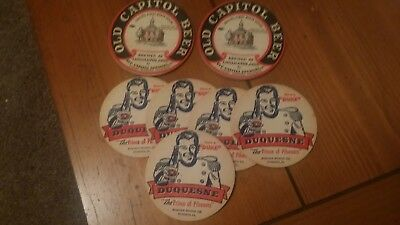 5 Duquesne  and 2 Old Capital Beer Coasters