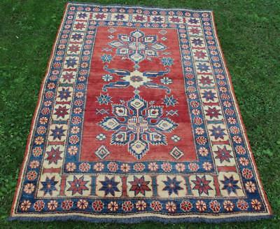 Semi Antique Kazak Kuba Tribal Caucasian Area Carpet Rug 5 x 3.4' Red & Blue